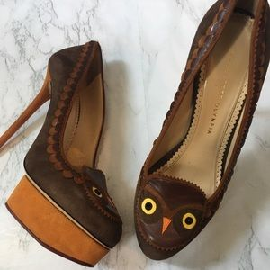 Charlotte Olympia Tawney Suede Owl Pumps